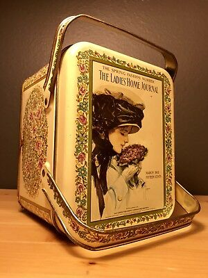 Vintage The Ladies Home Journal Advertising Tin with Lid and Handles March 1910