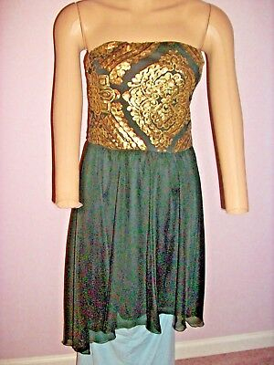 As U Wish Dress Medium Strapless Sequins Gold Bodice Black Chiffon Filmy Skirt Bodice Chiffon Skirt
