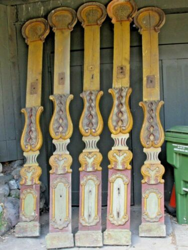 Antique 5 Carousel Tall Panels Carved Wood c. 1890 - 1900