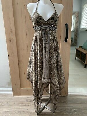 BCBG Max Azria Womens Sequined Asymmetric Handkerchief Maxi Dress Sz 0 $419.00