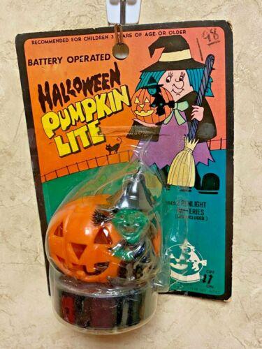 Vintage Halloween Lite Light Battery Operated Pumpkin/Witch Hong Kong