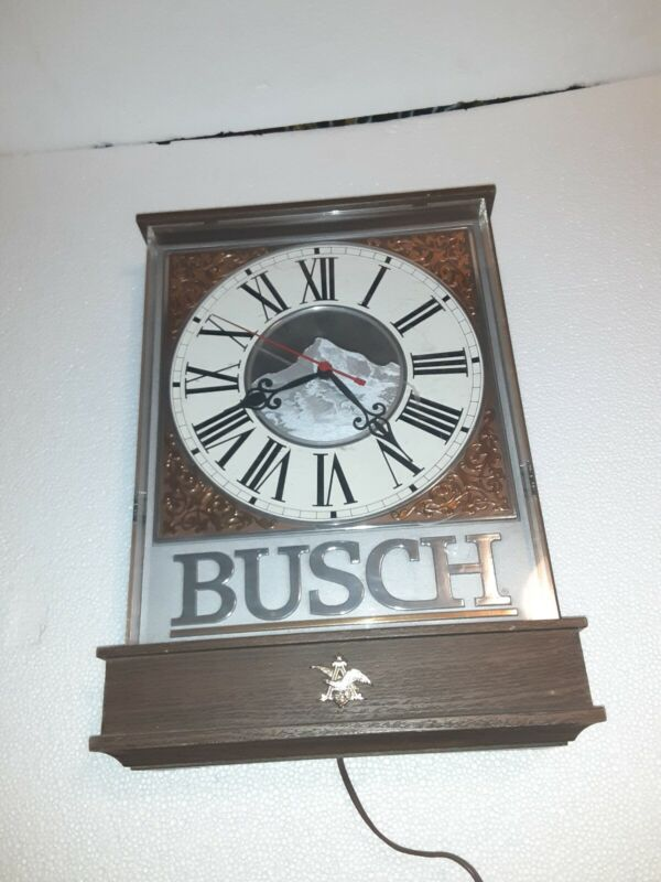 "Vintage 1989 Busch Beer Sign  Wall Clock Anheuser Busch~ Working 13""x19""x4"""