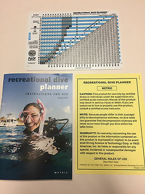 PADI 60045 Recreational Dive Planner Table w/instructions RDP - Padi Dive Tables