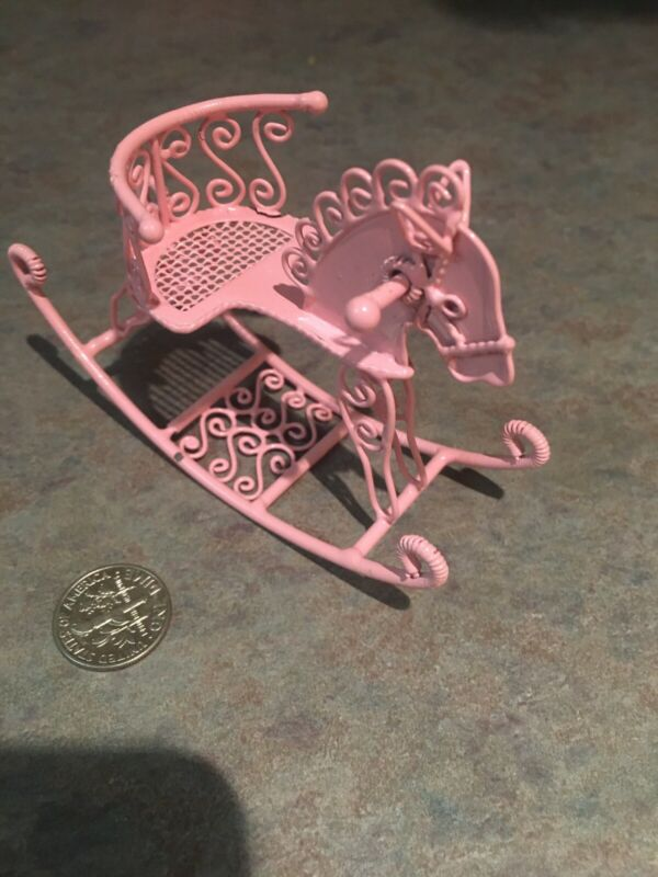 Dollhouse Miniature Rocking Horse Vintage Pink Metal 1:12 Scale