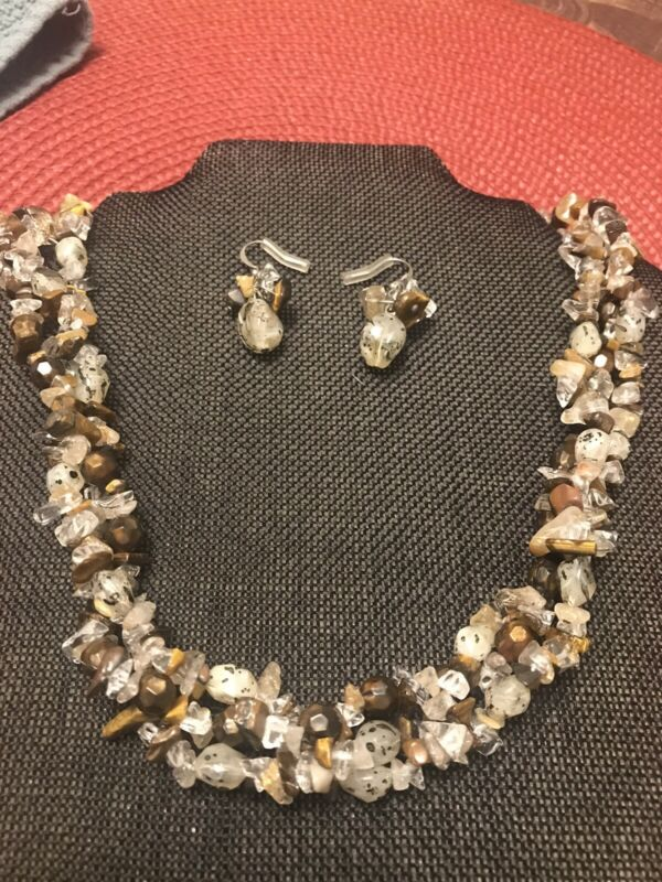 """ESTATE TIGERS EYE & QUARTZ STONE WITH BEADS  NECKLACE 20-22"""" & EARRING SET"""