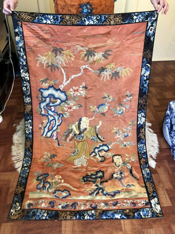 Large Elegant Antique Chinese Silk Tapestry Early - Mid 19Th C. Fantastic Detail