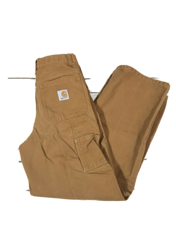 Carhartt Boys Size 12 Carpenter Pants Adjustable Waist Original Fit Tan Cotton