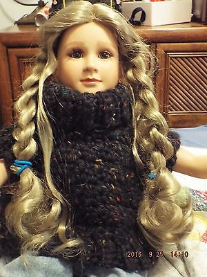 "Hand crocheted cowl neck poncho for 18-23"" dolls by Missouri Wool Gatherer"