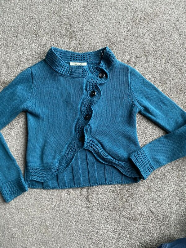 Persnickety Amelia Size 5 Blue Crossover Sweater
