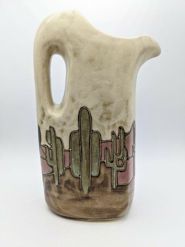 Handcrafted Mexican Ceramica Mara Stonewear Cactus Desert Scene 32oz Pitcher