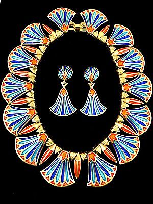 Selten 597ms Crown Trifari Ägyptische Wiederbelebung König Tut Kragen-Halskette ()