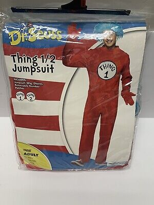 Teen Adult Thing 1 Thing 2 Halloween Costume Jumpsuit Dr Seuss Cat In The Hat
