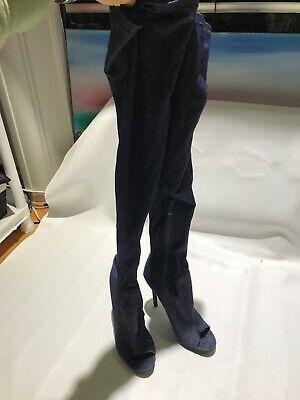 Thigh High Open Toe Boot US 9 UK 7 Stretch Denim Sock Over The Knee Very High (Open Toe Thigh High Socks)