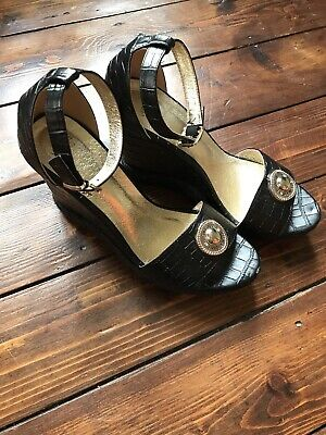 "Stunning Ladies Shoes-Versace - Size 7 Black Leather-5"" Wedge Heels"