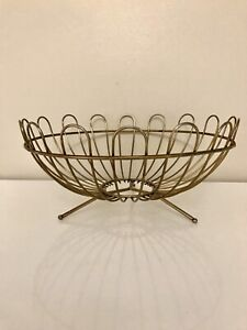 Mid Century Brass Toned Wire Bowl