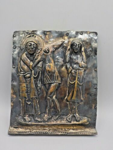 The Robing of Adam & Eve Silver Religious Plaque Museum Repro Medieval Spain MCM