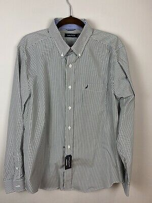 Nautica Mens Size L Classic Fit Gray Striped Button Down Shirt Wrinkle Resistant