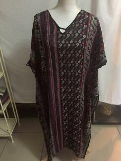 Gypsy Boho Tree Of Life Kaftan Dress Free Size