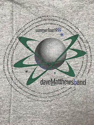 VINTAGE 90s Dave Matthew Band Summer Tour 1999 Concert Gray Tee T Shirt Medium