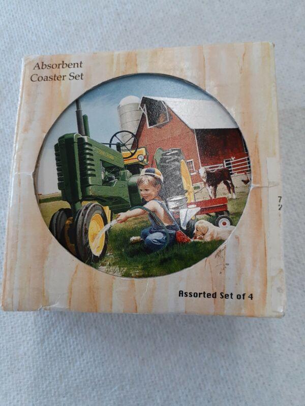 John Deere Stone Coaster Set, Vintage