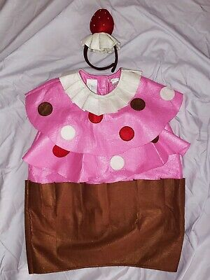 POTTERY BARN KIDS Girls CUPCAKE Halloween COSTUME w/Strawberry Headpiece sz 7/8