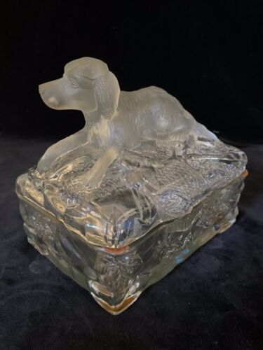Rare VALLERYSTHAL SETTER DOG Frosted & Clear Glass Covered Dish Antique c.1930