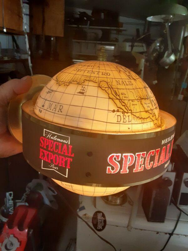 Vintage Special Export Beer Map Globe Motion Moving Spinning Light Up Bar Sign