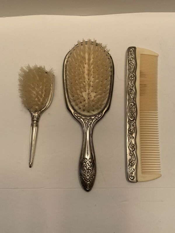 Vintage Silver Plated Brush & Comb with WEB Sterling Baby Brush