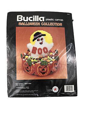 BUCILLA Halloween Collection Plastic Canvas Needlepoint Kit BOO Basket Treat Dis