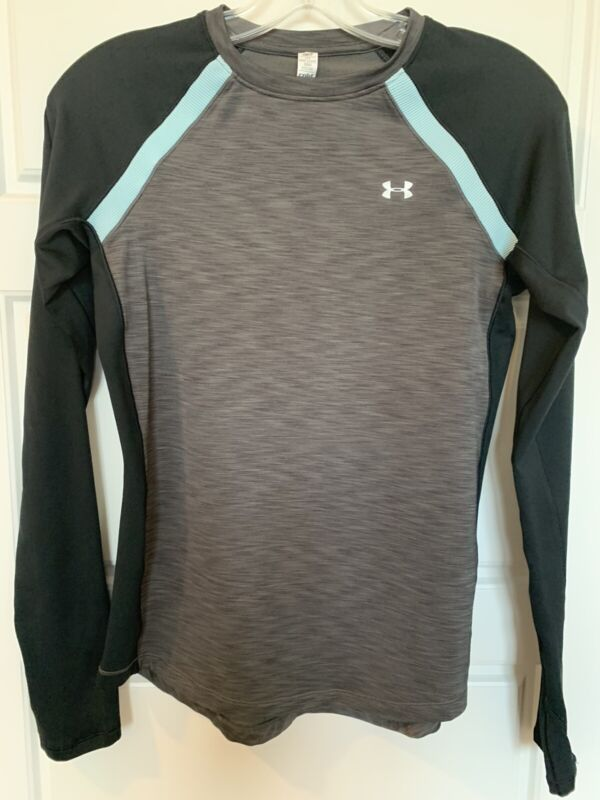 Under Armour Youth Boys Cold Gear Gray Black Long Sleeve Winter Ski Small