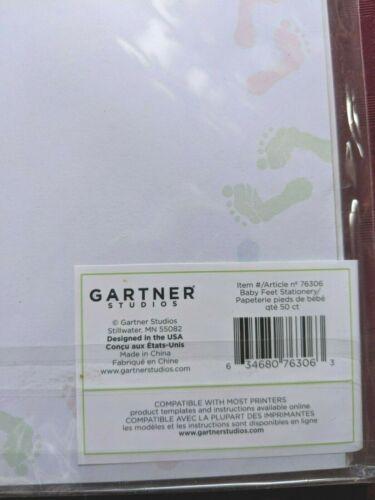New GARTNER STUDIOS BABY FEET 50 Ct Stationary Paper Footprint Invitation Pastel