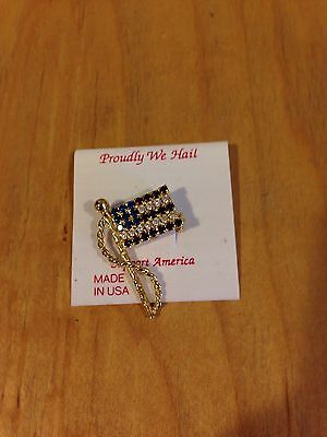 Proudly We Hail USA Flag Pin Brooches Rhinestone Red, Clear,Blue~P-48 *