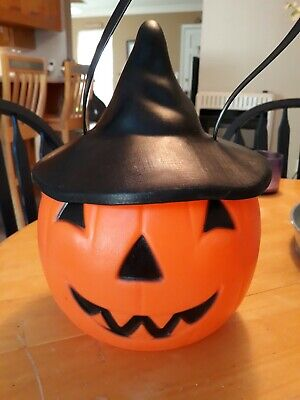 Vintage Empire Blow Mold Halloween Pumpkin Pail Bucket With Witch Hat Top.