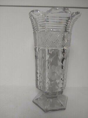 Etched Floral Vase (Cut Etched Clear Crystal Floral Vase 9 3/4