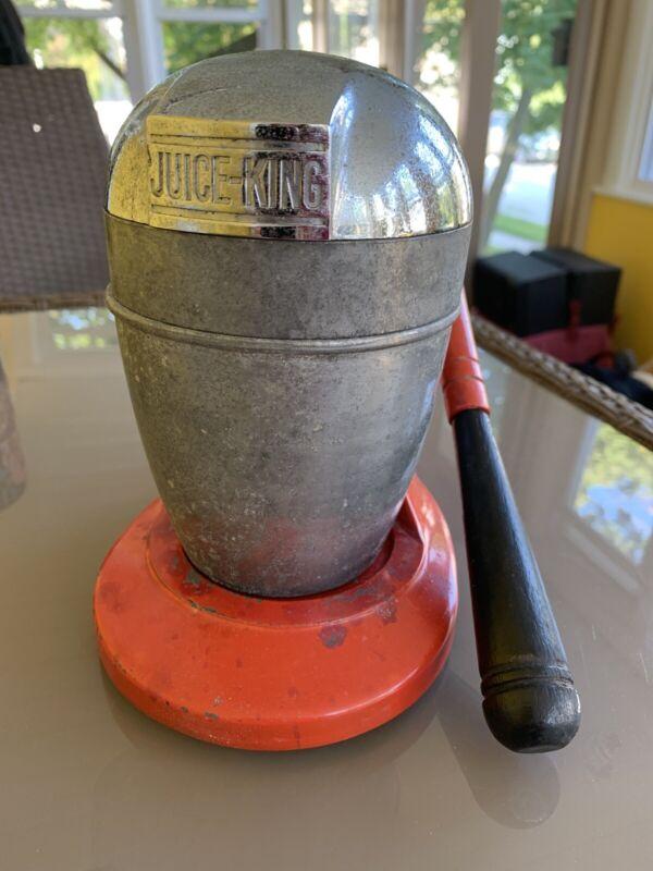 Vintage Juice King JK-35 Juicer Orange With Black Wooden Handle- Complete!