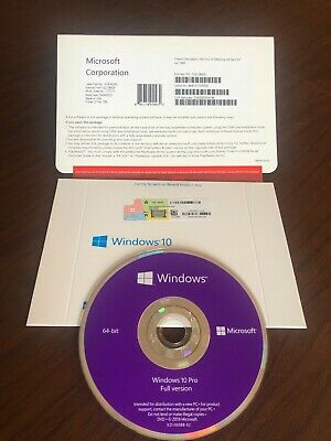 Microsoft Windows 10 Pro Professional 64bit DVD + License Code...