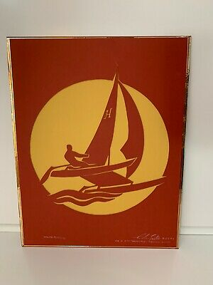 Hobie Wave Rider Image | 3D | Two-Tier Layered Carved Tag Board | 2-Color | 1977