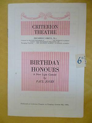 CRITERION THEATRE PROGRAMME 1953- BIRTHDAY HONOURS by Paul Jones
