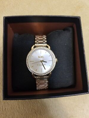 $160 COACH Womens Lex Crystal Gold-Tone Stainless Steel Watch 14502896