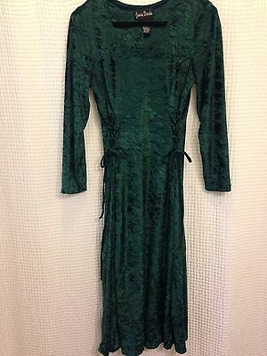 Gypsy Corset Dress (90s Green CRUSHED VELVET Goth Witchy Grunge CORSET TIES Gypsy Midi)
