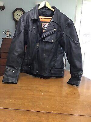 42 Biker Leather Jacket Mens 42 Motorcycle Punk Black Belted W Liner