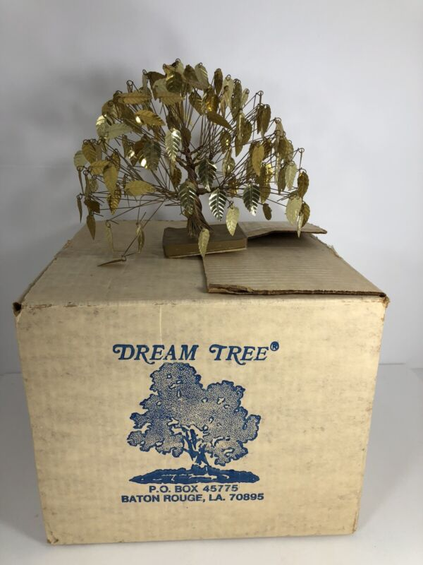 """Vintage Dream Tree Sculpture By J. Tramel Twisted Brass Gold 7""""X7"""" With Box"""