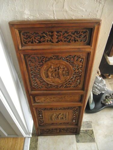 """Vintage  Carved Wooden Wall Hanging Panel  Floral & Figurines 14"""" x 36"""""""