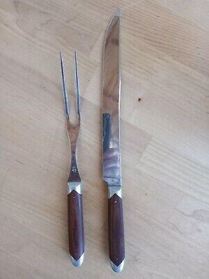 Vintage Queen Steel Carving Set Knife and Fork Fine Wood Handles USA N