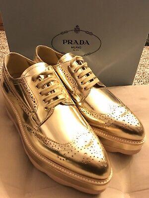100% Authentic PRADA Golden oxfords shoes US8