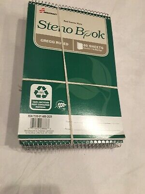 16x Recycled Steno Books 6 X 9 Gregg Ruled 60 Sheets Green Cover.pack Of 6