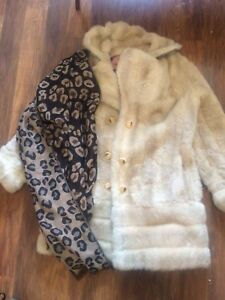Faux fur coat & new with tags scarf