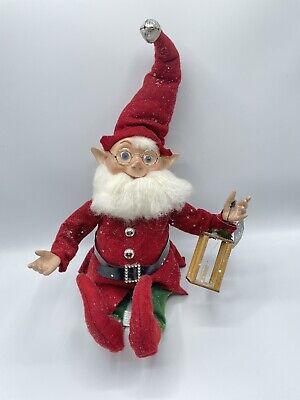 Raz Imports Gnome Posable Elf w/ Candle Lantern & Blue Eyes