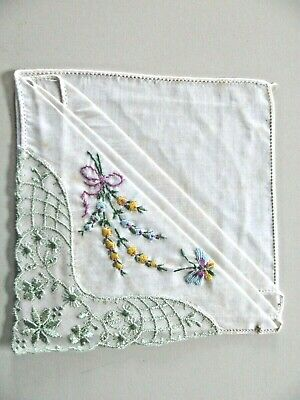 Best Wishes Cotton Linen Embroidered Handkerchief Yellow Green Flowers Leaves Wedding Bride