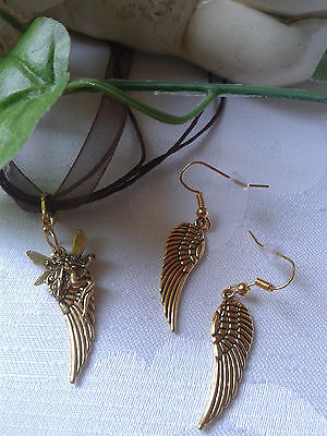 Elfen Kette Elfe Fee Organzaband Halskette + Ohrringe Flügel Schmuckset Fairy